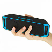Портативная колонка блютуз колонка MP3 плеер UKC SC-208 BT Blue, фото 4