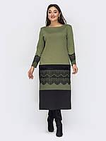 Платье оливковое длинное в пол повседневное 50 52 54 56 58 60 62