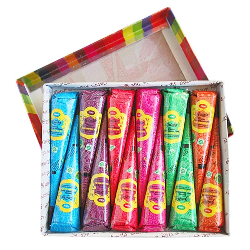 Хна в конусе Golecha набор разноцветный 12 шт