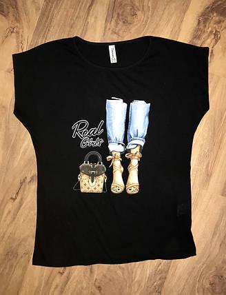 Женская футболка черная, фото 2