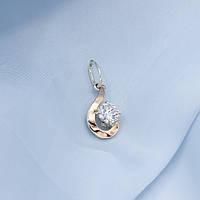 Підвіс зі срібла Загадка із золотою вставкою та яскравим камінцем посередені, фото 1