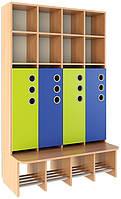 Шкаф для раздевалки, со стационарной лавочкой, открытый из серии «Мыльные пузыри» MAXI