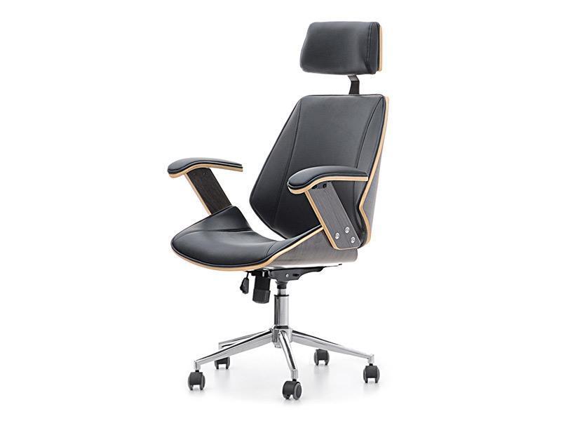 Кресло дизайнерское офисное деревянное I SKÓRY EKOLOGICZNEJ FRANK DĄB PALONY-CZARNY