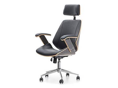 Кресло дизайнерское офисное деревянное I SKÓRY EKOLOGICZNEJ FRANK DĄB PALONY-CZARNY , фото 2