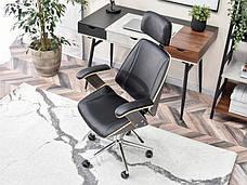 Кресло дизайнерское офисное деревянное I SKÓRY EKOLOGICZNEJ FRANK DĄB PALONY-CZARNY , фото 3