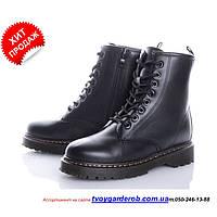 Ботинки женские в стиле Dr. Martens черные, Иск.кожа, VIOLETA р36-41 (код 2167-00)