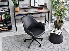 Кресло офисное для работы за компьютером OMAR CZARNY Z PRZESZYWANEJ SKÓRY , фото 3