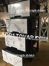 Комод пластиковый, с рисунком Лаванда коричневая, 4 ящика, Алеана