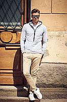 Серое трикотажное мужское худи с капюшоном, фото 1
