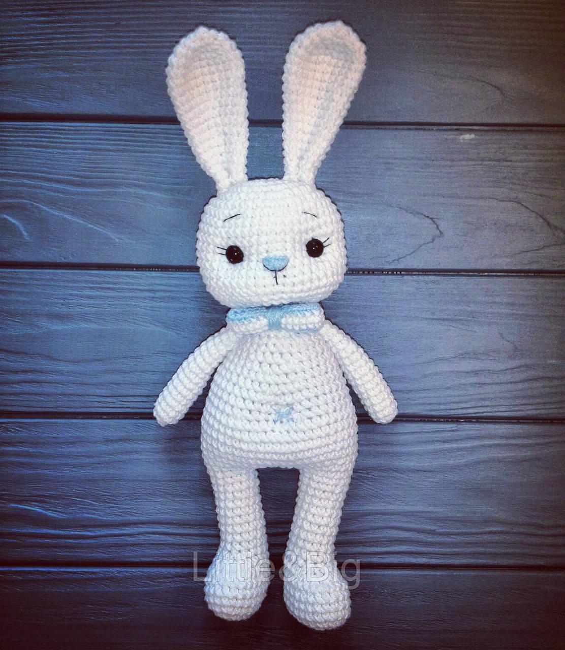 """Мягкая игрушка """"Белый зайчик с галстуком-бабочкой"""""""