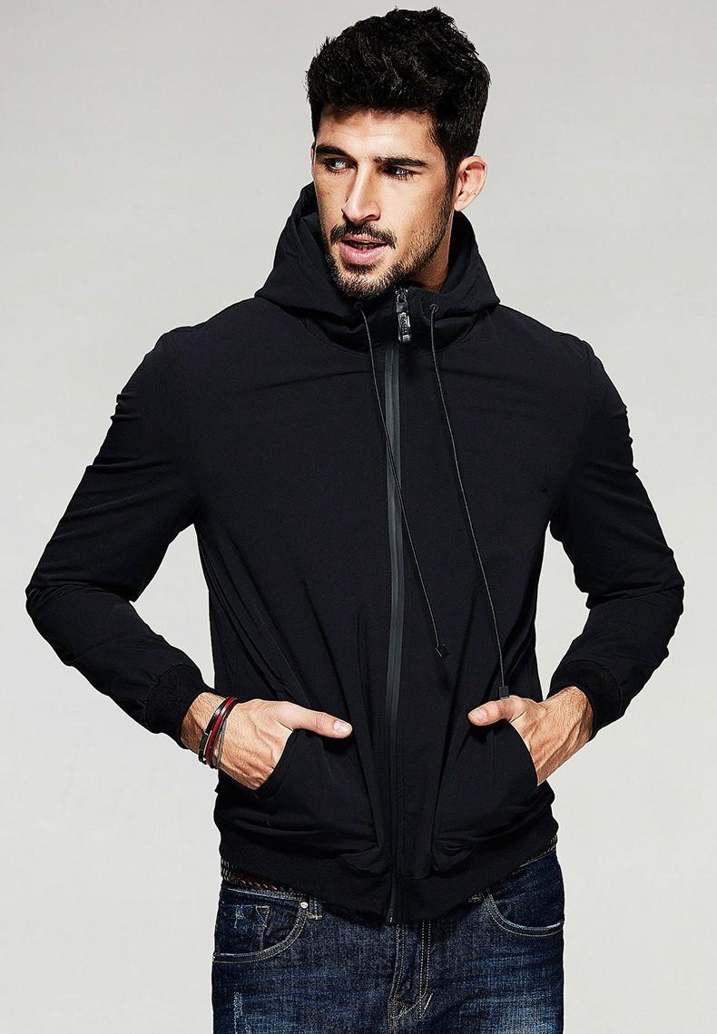 Демисезонная мужская черная куртка с капюшоном