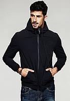 Демисезонная мужская черная куртка с капюшоном, фото 1