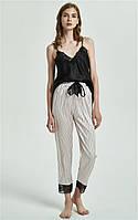 Пижама женская шелковая. Комплект атласный из майки и штанов для дома, сна, р. M (черный с розовым), фото 1