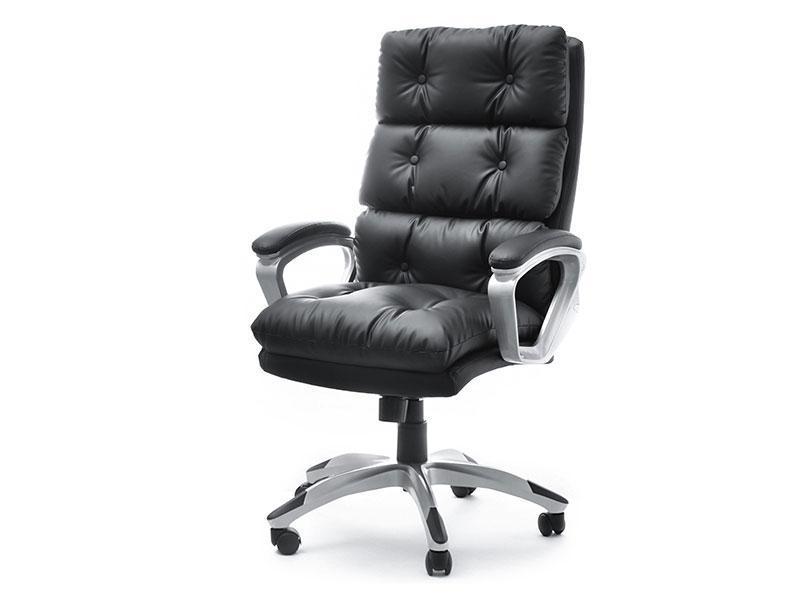 Кресло офисное для работы за компьютером BENON Z CZARNEJ PIKOWANEJ SKÓRY EKO Z MIĘKKIM SIEDZISKIEM