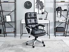 Кресло офисное для работы за компьютером BENON Z CZARNEJ PIKOWANEJ SKÓRY EKO Z MIĘKKIM SIEDZISKIEM , фото 3