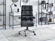 Кресло офисное для работы за компьютером BENON Z CZARNEJ PIKOWANEJ SKÓRY EKO Z MIĘKKIM SIEDZISKIEM , фото 2