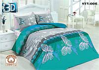 Постельный комплект двухспальный 175х215 хлопок Бабочки голубые