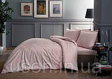Комплект постельного белья сатин tac 1.5 размер  простынь на резинке FABIAN PEMBE