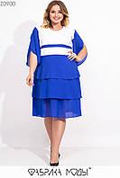 Двухцветное платье прямого кроя с V-образным вырезом и оборками на подоле Супер Батал с 54 по 60 размер, фото 1