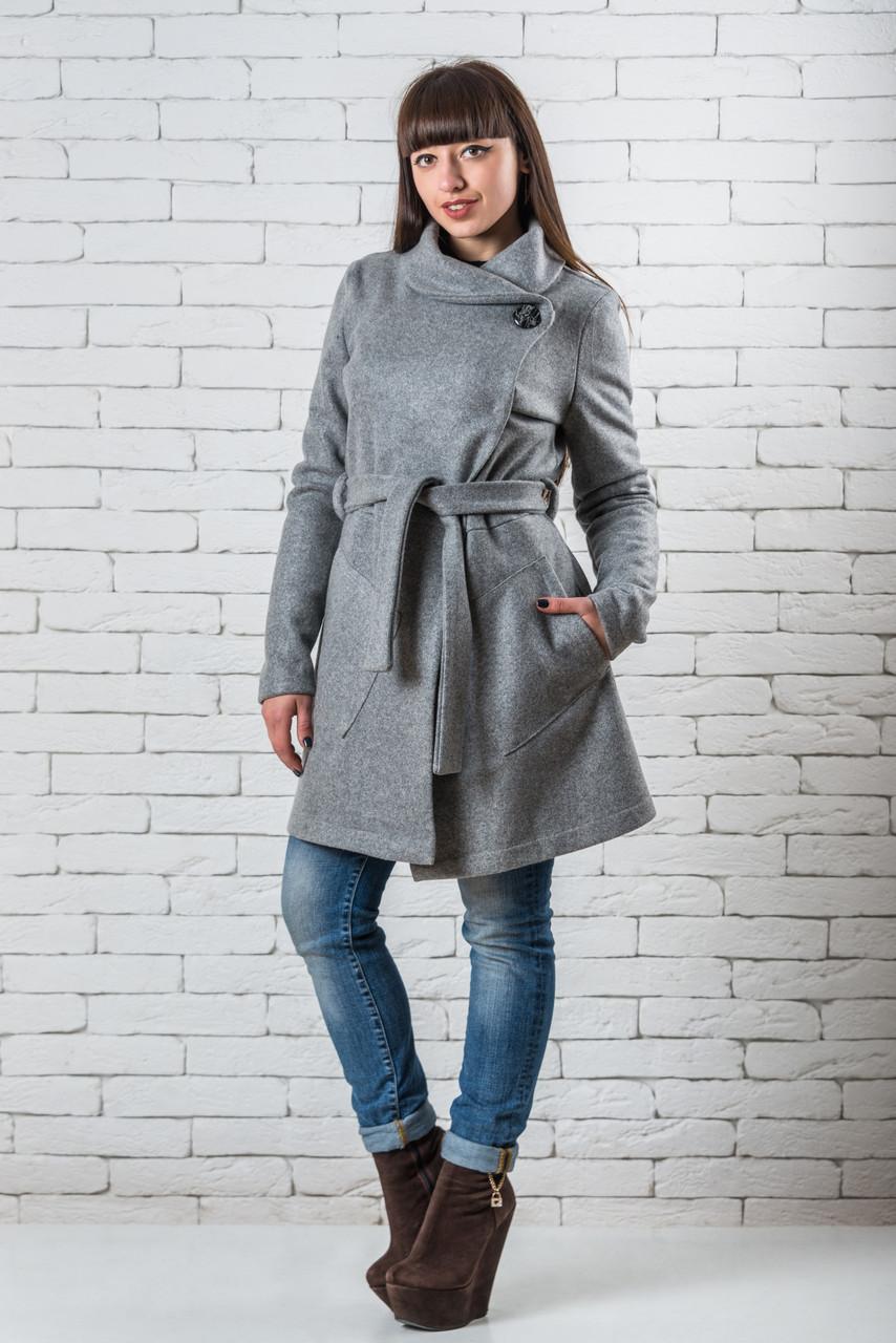 Кашемировое женское пальто  демисезонное  42-52 светло-серый