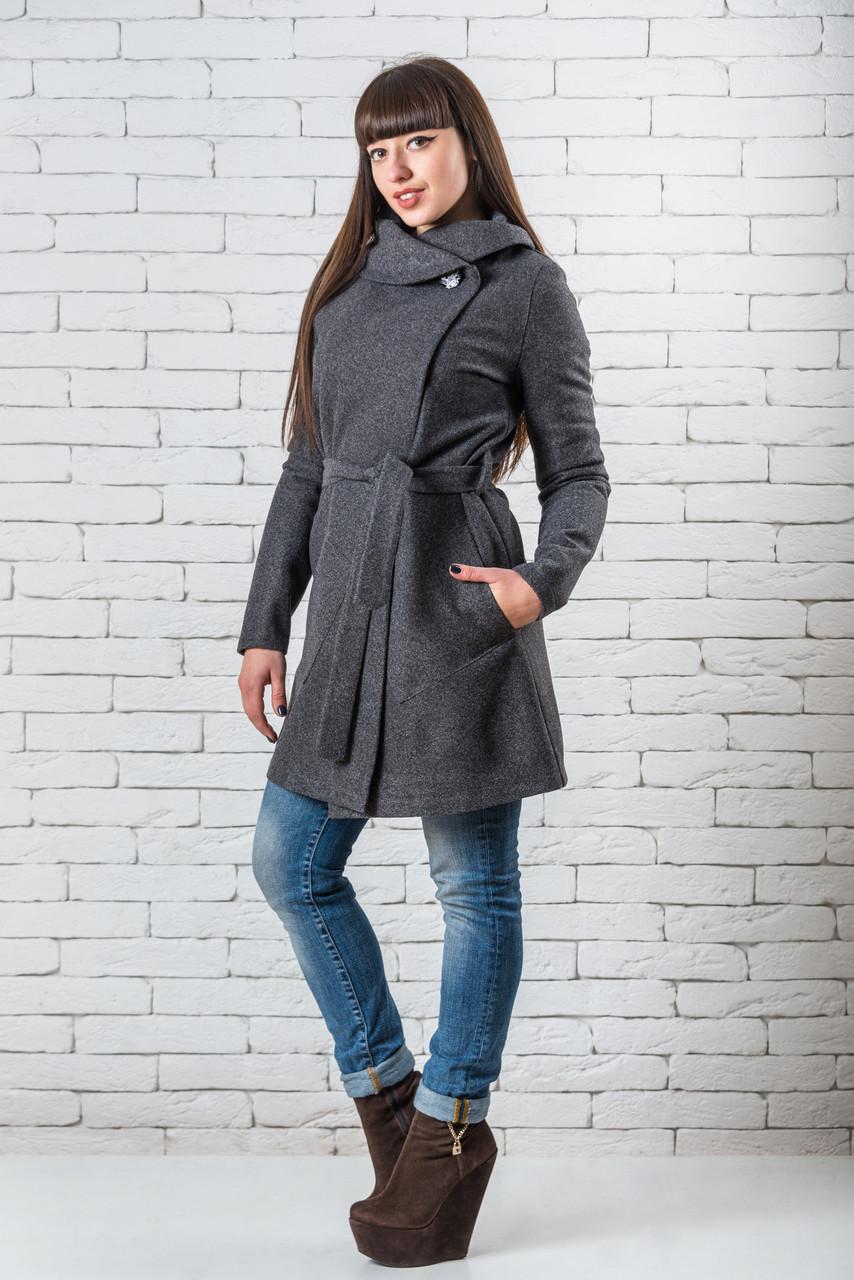 Пальто женские весенние кошемировое 42-52 темно-серый