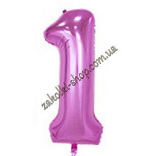 """Фольгированные воздушные шары, цифра """"1"""", размер 32 дюймов/74 см, цвет: нежно-розовый"""