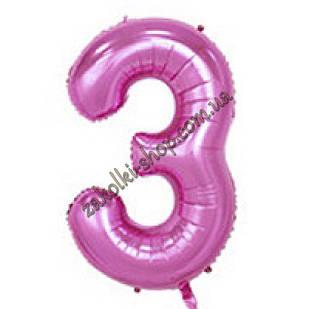 """Фольговані повітряні кулі, цифра """"3"""", розмір 32 дюймів/74 см, колір: ніжно-рожевий"""