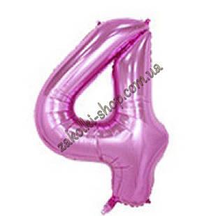"""Фольгированные воздушные шары, цифра """"4"""", размер 32 дюймов/74 см, цвет: нежно-розовый"""