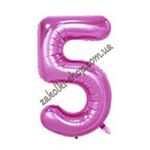 """Фольгированные воздушные шары, цифра """"5"""", размер 32 дюймов/74 см, цвет: нежно-розовый"""