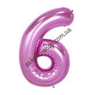 """Фольгированные воздушные шары, цифра """"6"""", размер 32 дюймов/74 см, цвет: нежно-розовый"""
