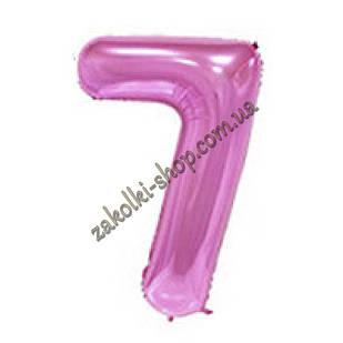 """Фольговані повітряні кулі, цифра """"7"""", розмір 32 дюймів/74 см, колір: ніжно-рожевий"""