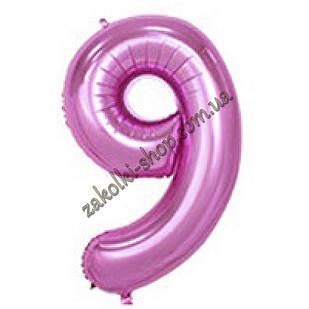 """Фольговані повітряні кулі, цифра """"9"""", розмір 32 дюймів/74 см, колір: ніжно-рожевий"""
