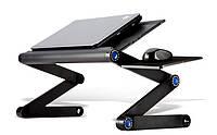 """Столик для ноутбука с вентилятором до 19"""" MDN, охлаждающая подставка трансформер, Черный (AC-5808-1-BL)"""