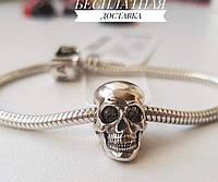 Шарм череп серебро 925