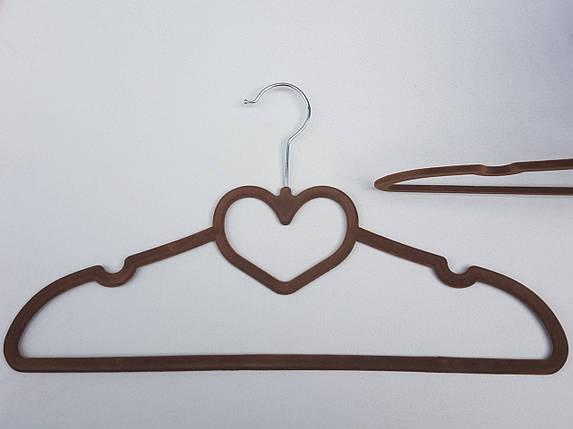 Плечики вешалки  флокированные (бархатные, велюровые) коричневого цвета,длина 41,5 см,в упаковке 3 штуки, фото 2