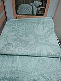 Комплект постельного белья сатин tac 1.5 размер  простынь на резинке FABIAN MINT, фото 2