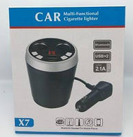 Fm-модулятор, авто зарядка Bluetooth 2 USB X7 Стакан
