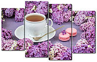 Модульная картина Нежные сиреневые цветы и чашка Код: W2653