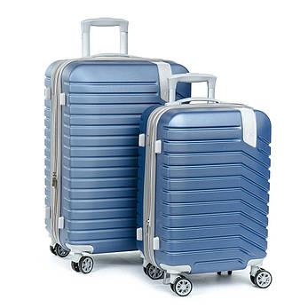 Дорожня Валіза 2/1 ABS-пластик 8347 blue змійка, фото 2