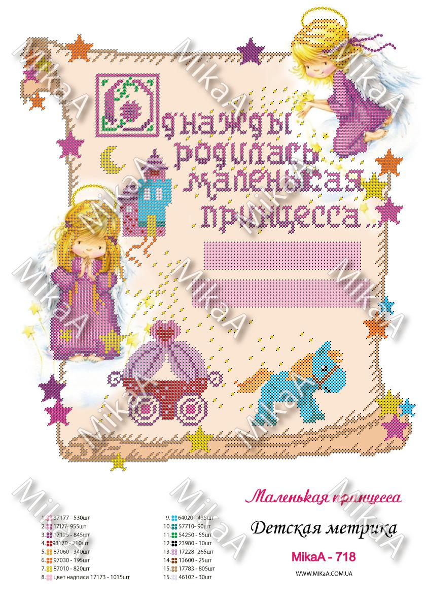 """Детская метрика для девочки """"Маленькая принцесса"""" А3"""