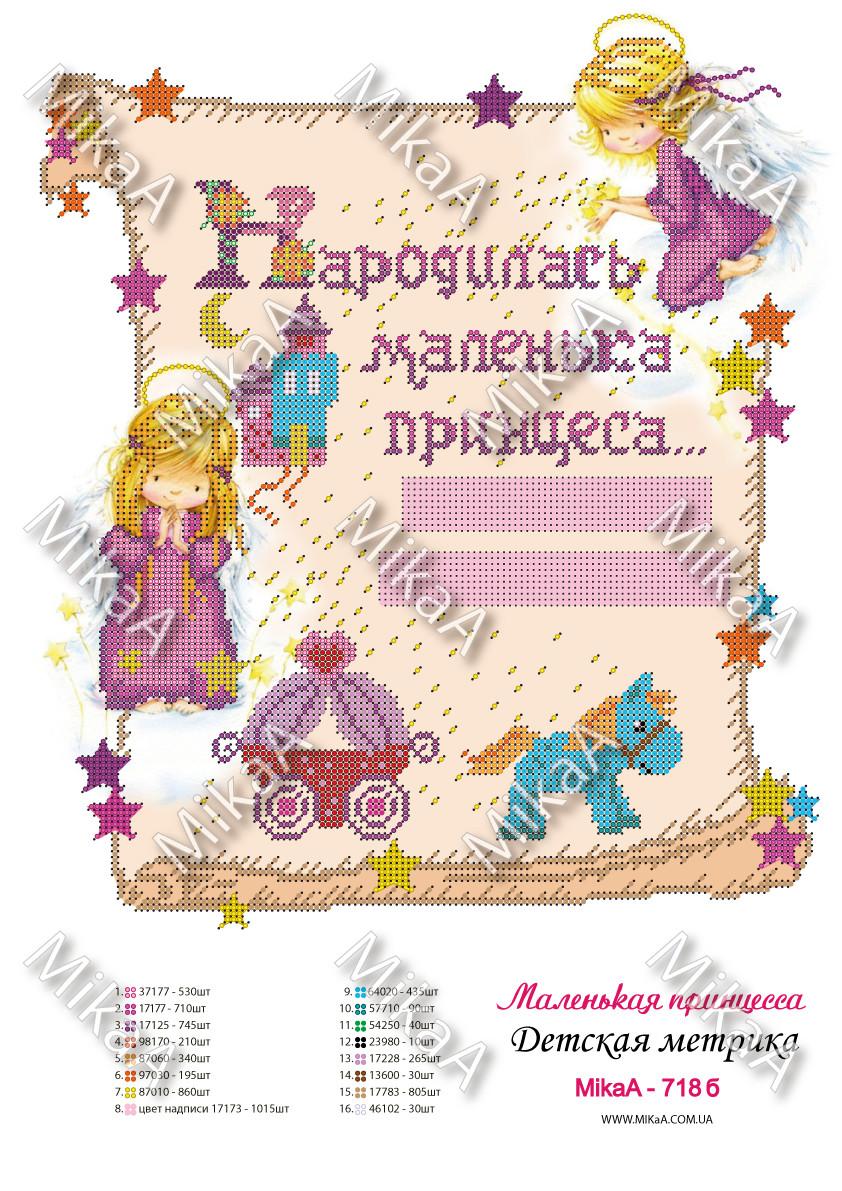 """Детская метрика для девочки """"Маленька принцеса"""" на украинском А3"""