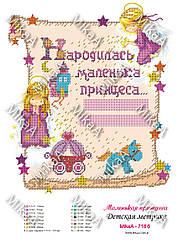 """Дитяча метрика для дівчинки """"Маленька принцеса"""" на українському А3"""