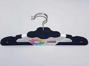 Плечики вешалки тремпеля флокированные (бархатные, велюровые) черного цвета, длина 42 см,в упаковке 3 штуки, фото 2