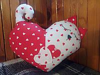 Интерьерная подушка ручной работы из натуральных тканей — Сердце Кот