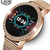 Cмарт-часы с металлическим ремешком Smart Watch Lige HS-B17 Golden