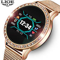 Смарт-часы Smart Watch Lige HSB17 Golden, спорт часы, умные часы, наручные часы, фитнес браслет, фитнес трекер