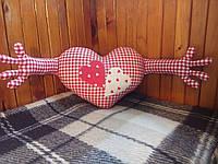 Интерьерная подушка ручной работы из натуральных тканей — Сердце обнимашка