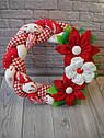 Інтер'єрний різдвяний вінок ручної роботи з натуральних тканин, фото 2