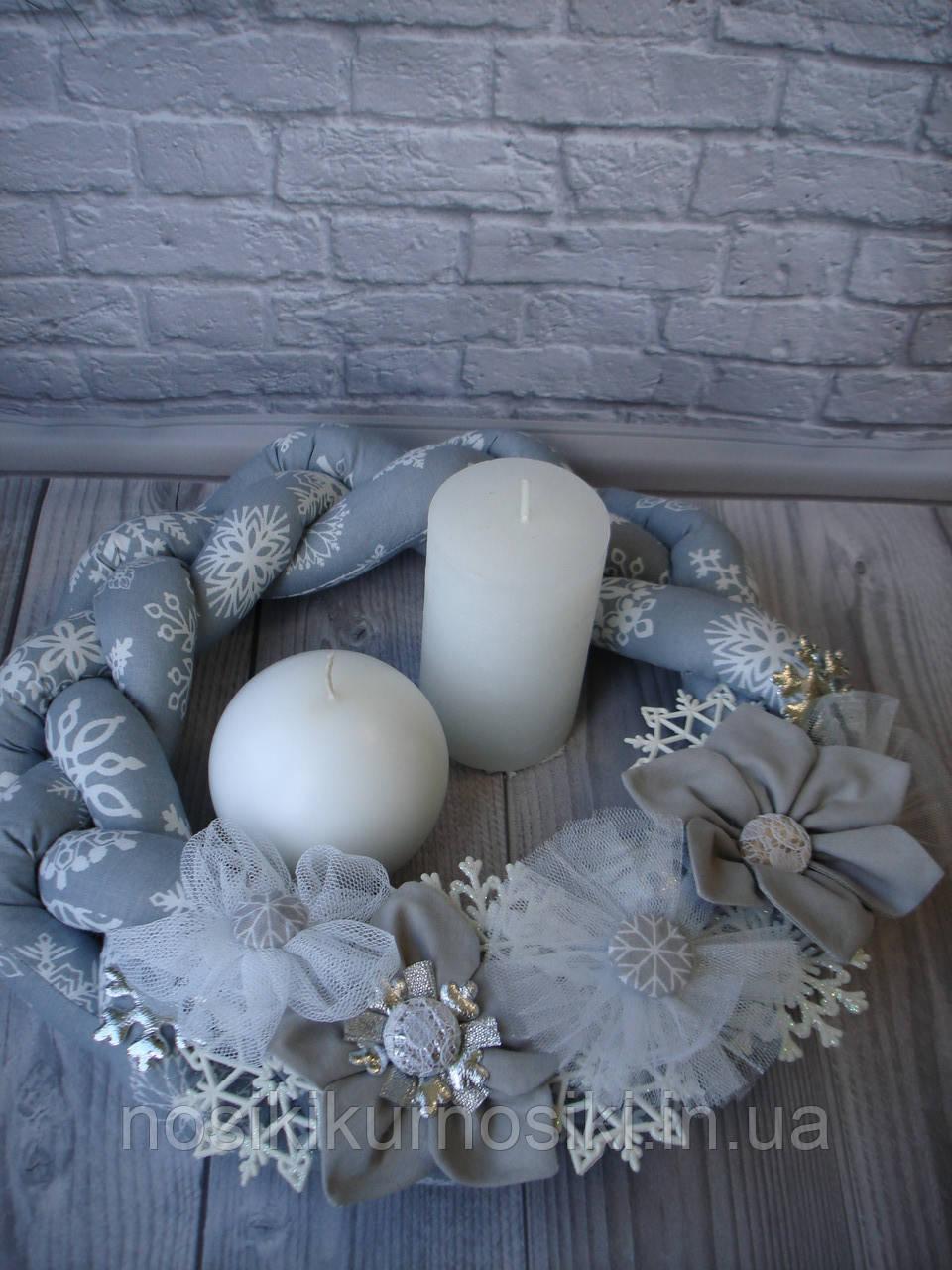 Интерьерный рождественский венок ручной работы из натуральных тканей