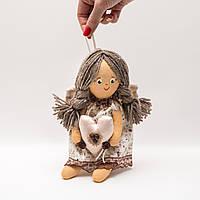 Кукла Бязевая Кофейный Ангел девочка., фото 1
